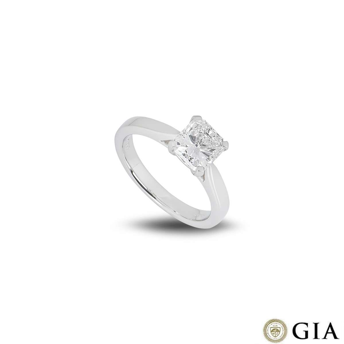 Platinum Radiant Cut Diamond Ring 1.51ct G/VS2